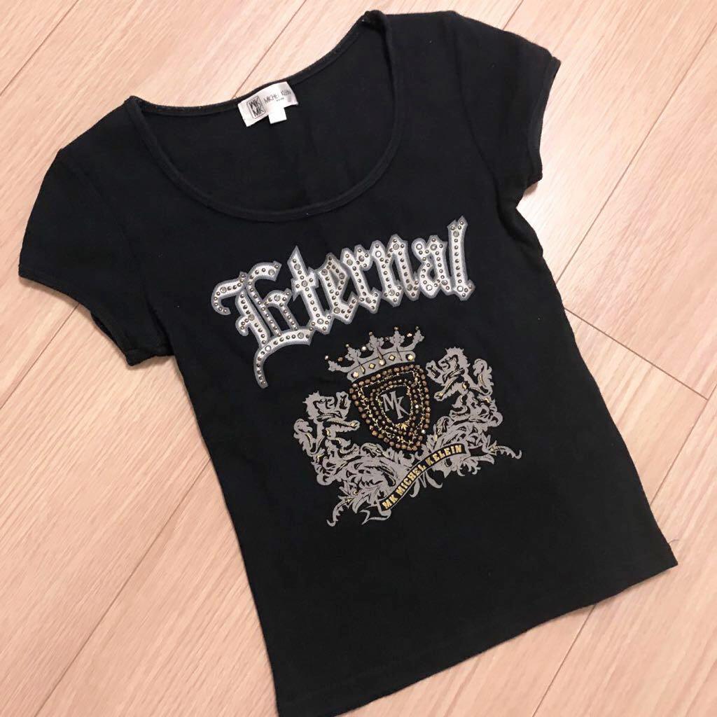 57439a74b35b 代購代標第一品牌- 樂淘letao - MICHEL KLEIN ミッシェルクランスタッズ付き黒Tシャツ38 / MK 小さいサイズS