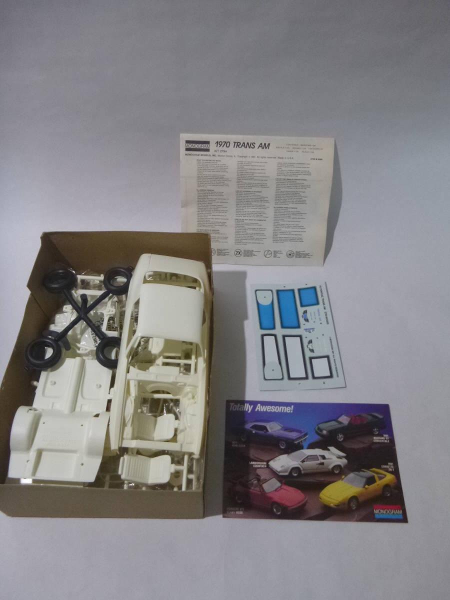 モノグラム 1/24 ポンティアック トランザム 1970 Monogram PONTIAC FIREBIRD TRANS AM/Pony muscle Vintage Plastic Model Car Kit 絶版_画像2