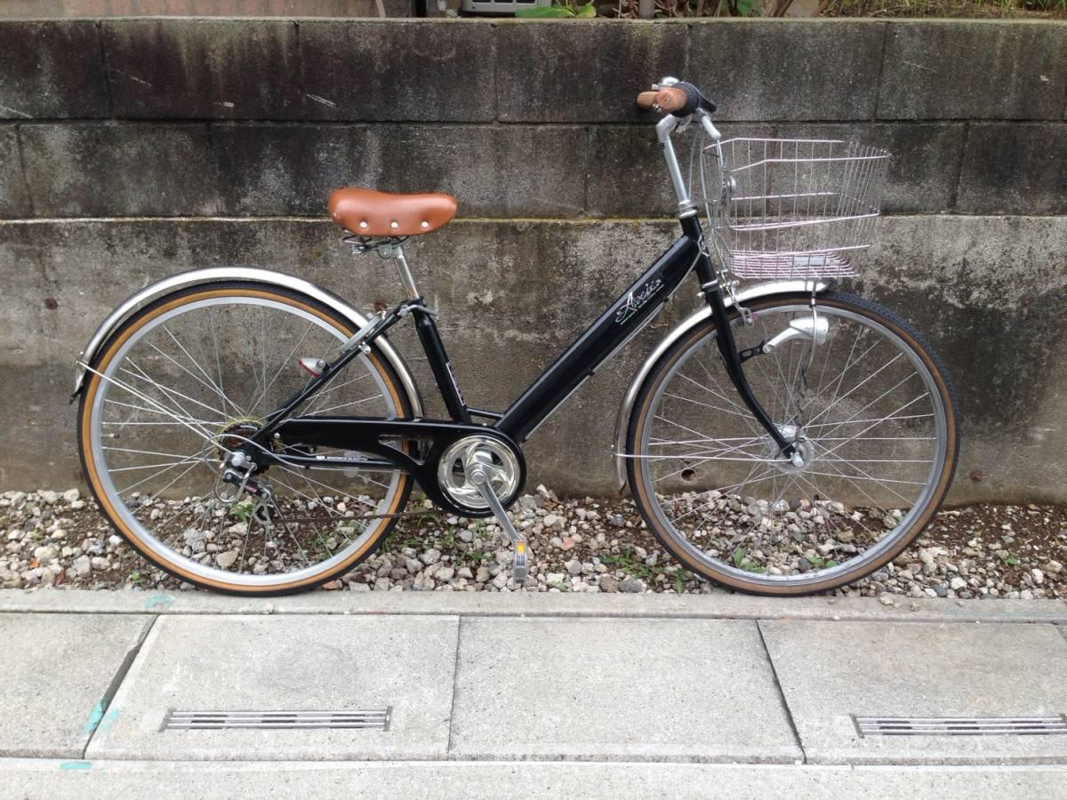 【中古】ナショナルデザインスタジオ 自転車 シティ軽快車 ネイビー 6段変速 26型