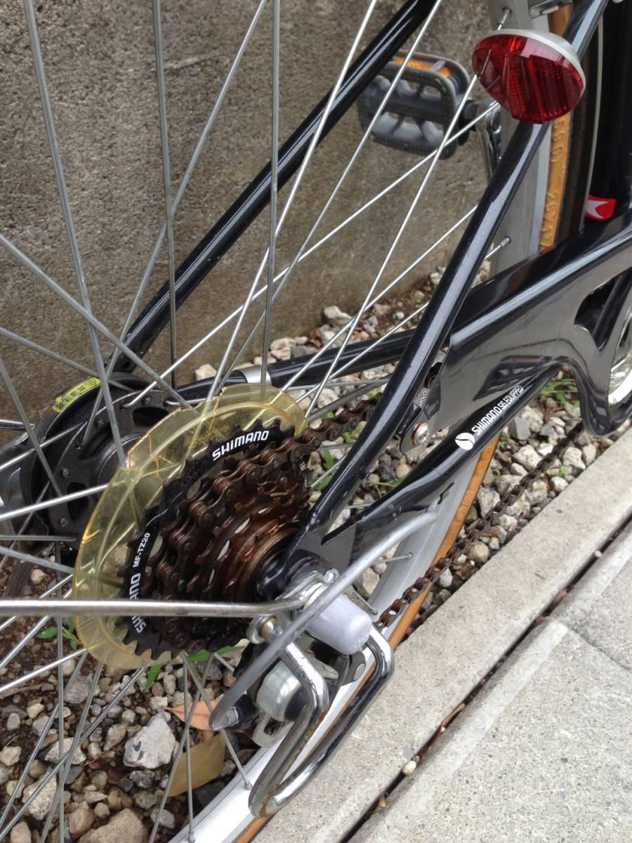 【中古】ナショナルデザインスタジオ 自転車 シティ軽快車 ネイビー 6段変速 26型_画像7
