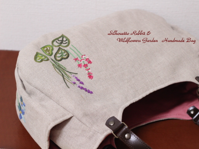 ◆シルエットうさぎ&シロツメクサと野の花の庭◆手刺繍◆リトアニアリネン◆本革持ち手◆ハンドメイドHandmade◆_画像8