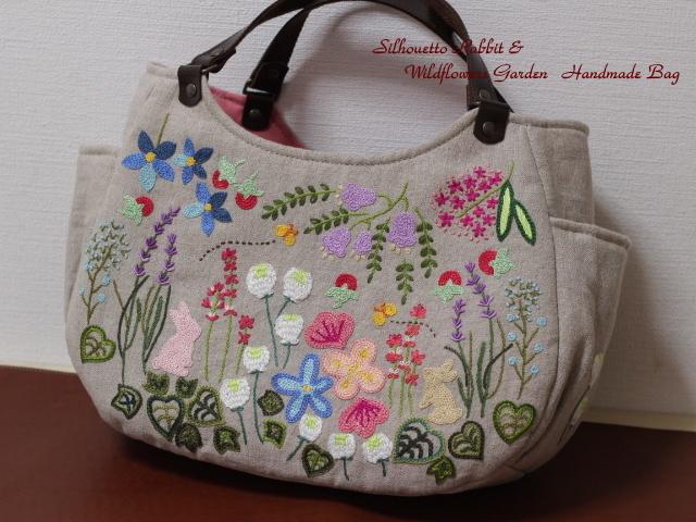 ◆シルエットうさぎ&シロツメクサと野の花の庭◆手刺繍◆リトアニアリネン◆本革持ち手◆ハンドメイドHandmade◆_画像10