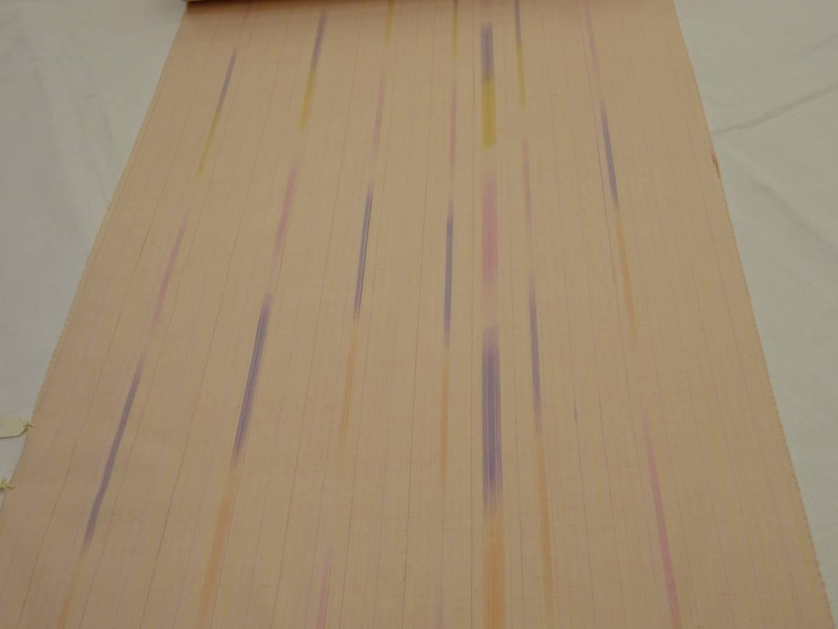 新品・正絹・反物★山形県・花咲季工房紅花紬着尺★ピンク地に縞柄です_画像2