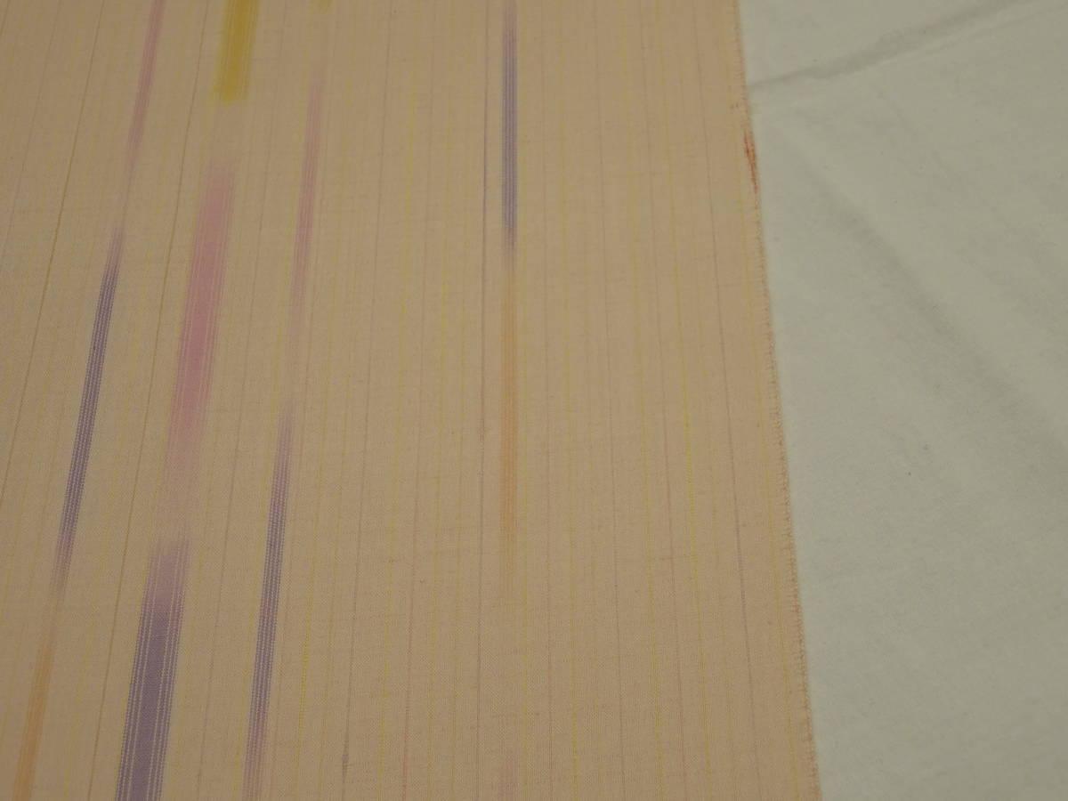 新品・正絹・反物★山形県・花咲季工房紅花紬着尺★ピンク地に縞柄です_画像3