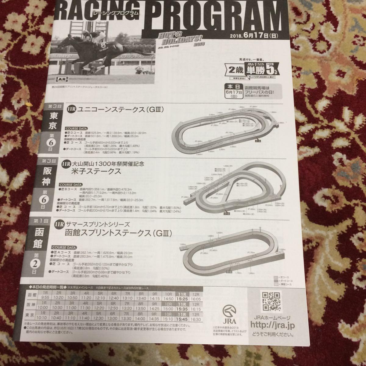 JRAレーシングプログラム2018.6月17日(日)ユニコーンステークス(GⅢ)、米子ステークス、函館スプリントステークス(GⅢ)_画像1