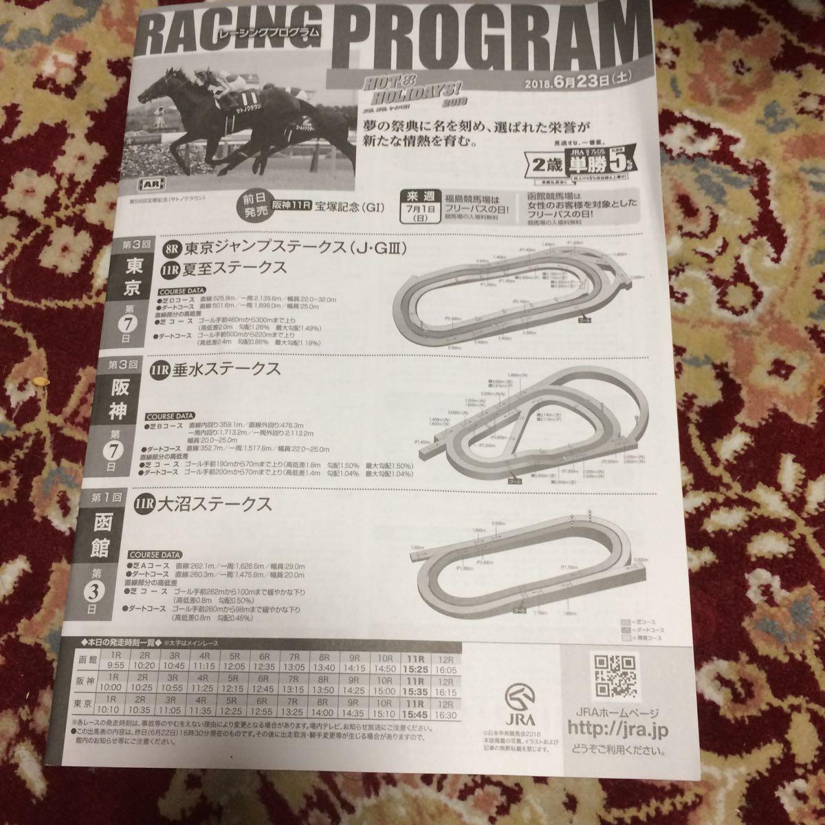 JRAレーシングプログラム2018.6月23日(土)東京ジャンプステークス(J・GⅢ)、夏至ステークス、垂水ステークス、大沼ステークス_画像1