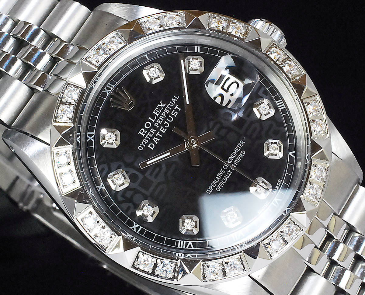 2年保証 ブラックジュビリー ロレックス デイトジャスト 秒針ハック機能 10P 天然ダイヤ Ref.1603 OH済 仕上済 ROLEX メンズ 極美品