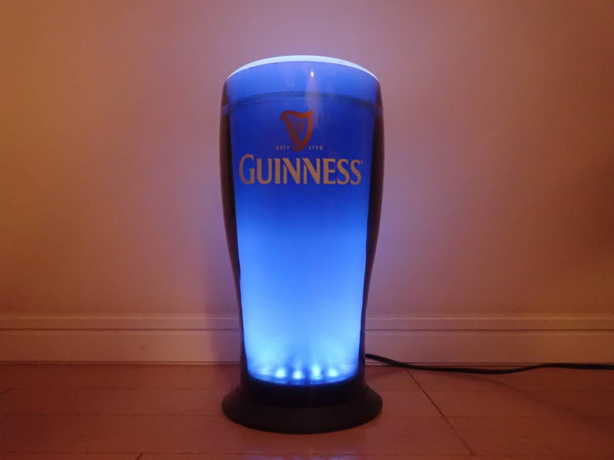 ★ GUINNESS ギネス LED内蔵グラス型サイン ★ 非売品 ☆ 中古 ★ フェードしながら点滅します