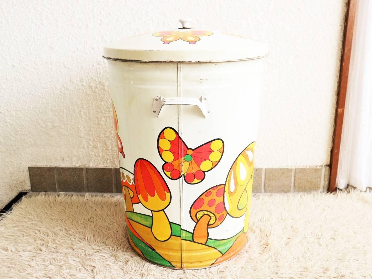 ビンテージ 70's キノコダストボックス バケツ型 蓋付き ゴミ箱 蝶々 サイケデリック ガーデンディスプレイ レトロ アンティーク_画像3