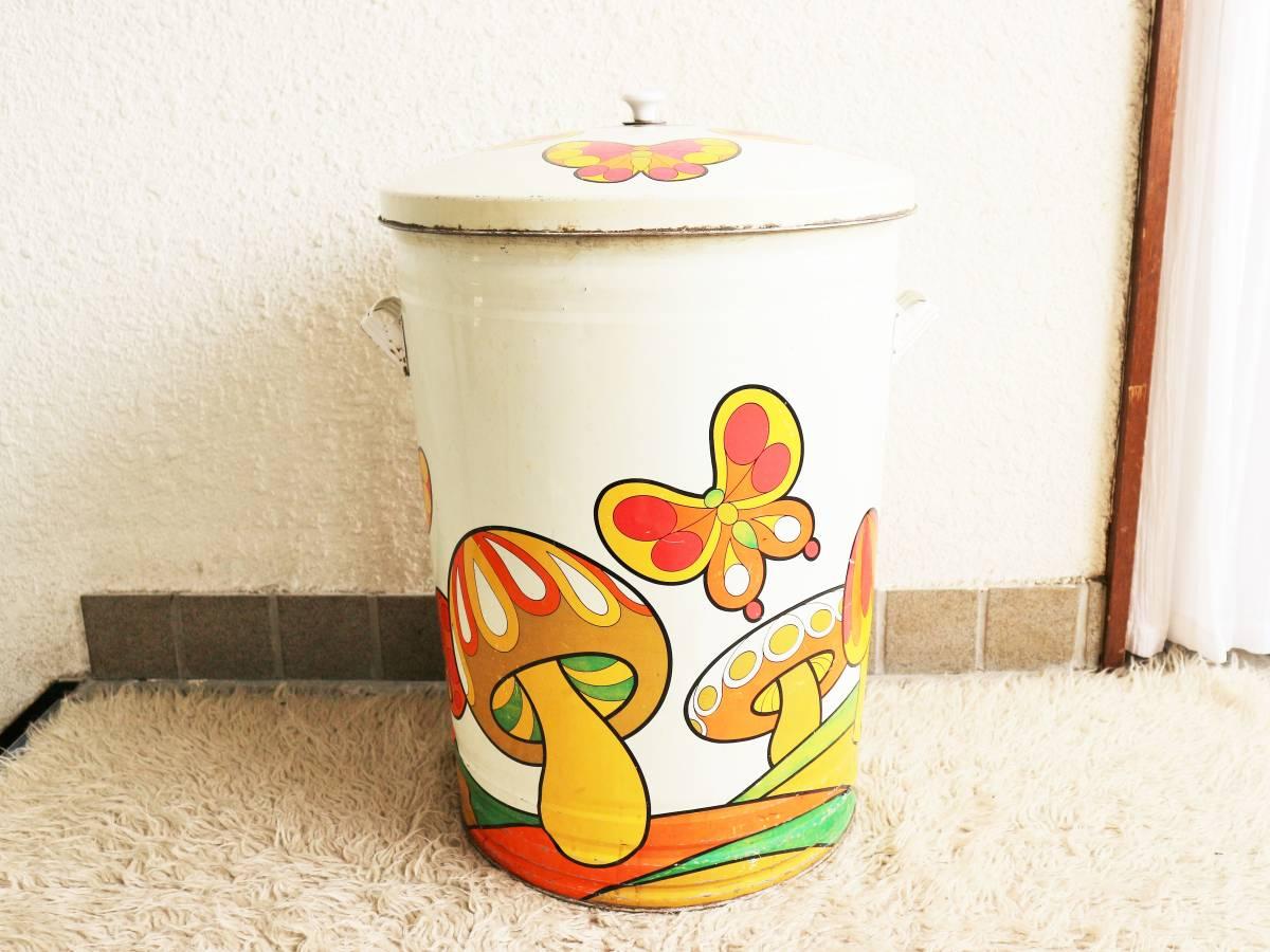 ビンテージ 70's キノコダストボックス バケツ型 蓋付き ゴミ箱 蝶々 サイケデリック ガーデンディスプレイ レトロ アンティーク_画像4