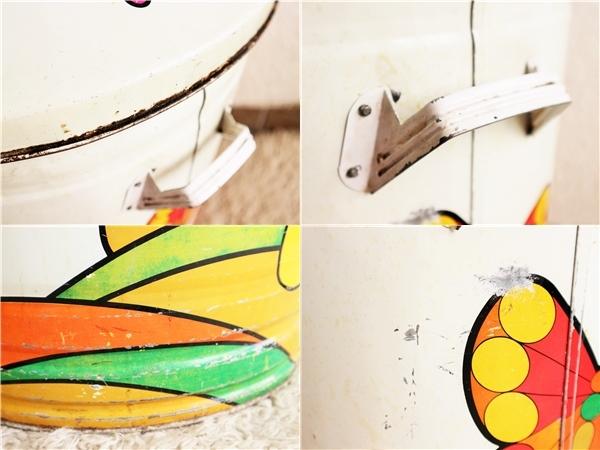 ビンテージ 70's キノコダストボックス バケツ型 蓋付き ゴミ箱 蝶々 サイケデリック ガーデンディスプレイ レトロ アンティーク_画像10