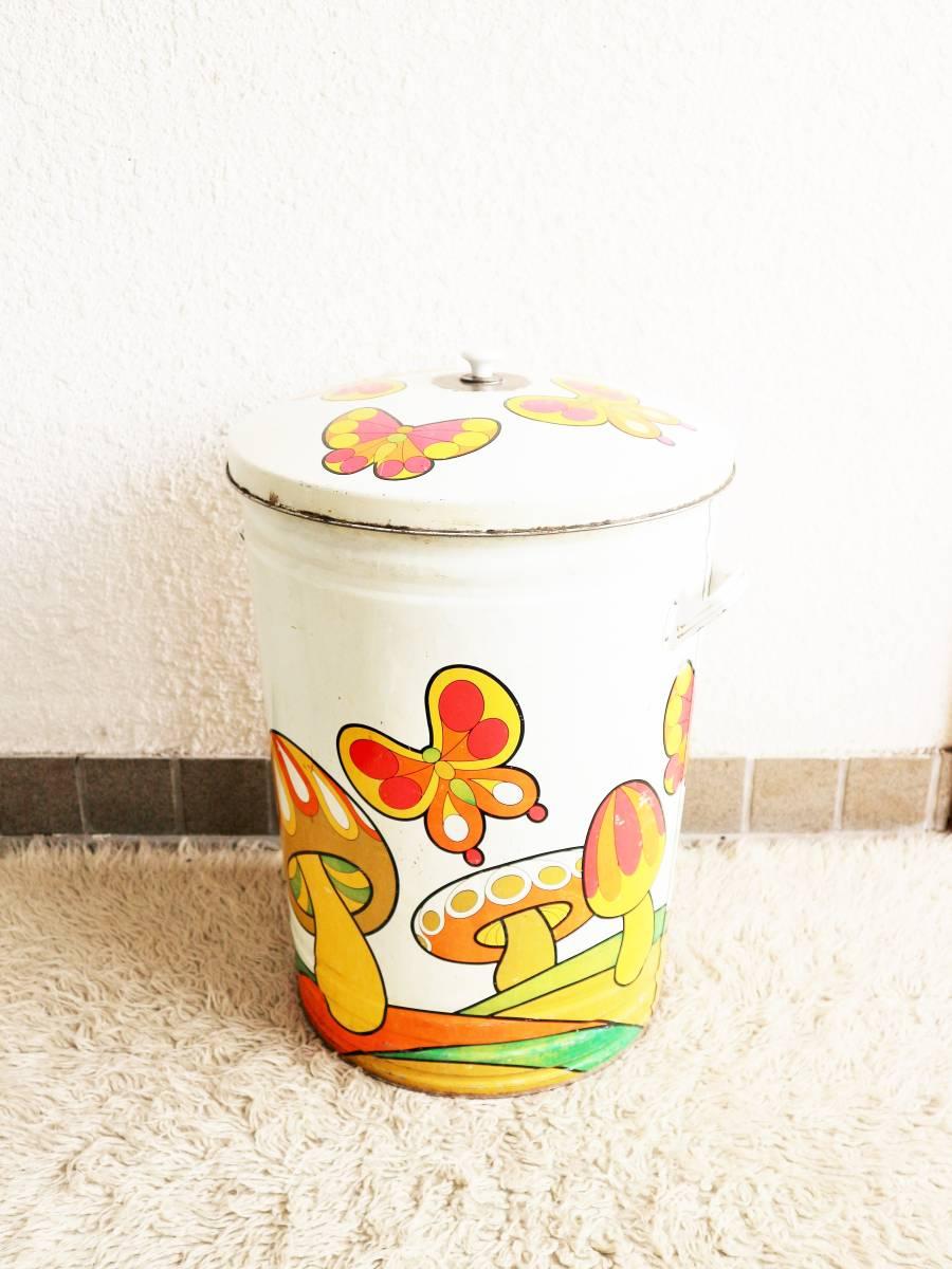 ビンテージ 70's キノコダストボックス バケツ型 蓋付き ゴミ箱 蝶々 サイケデリック ガーデンディスプレイ レトロ アンティーク_画像1