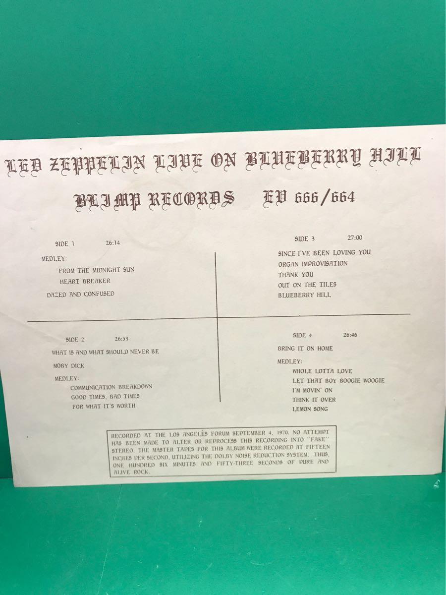 LP 2枚組 ブートレッグ「レッド・ツェッペリン/LIVE ON BLUEBERRY HILL」LED ZEPPELIN_画像4
