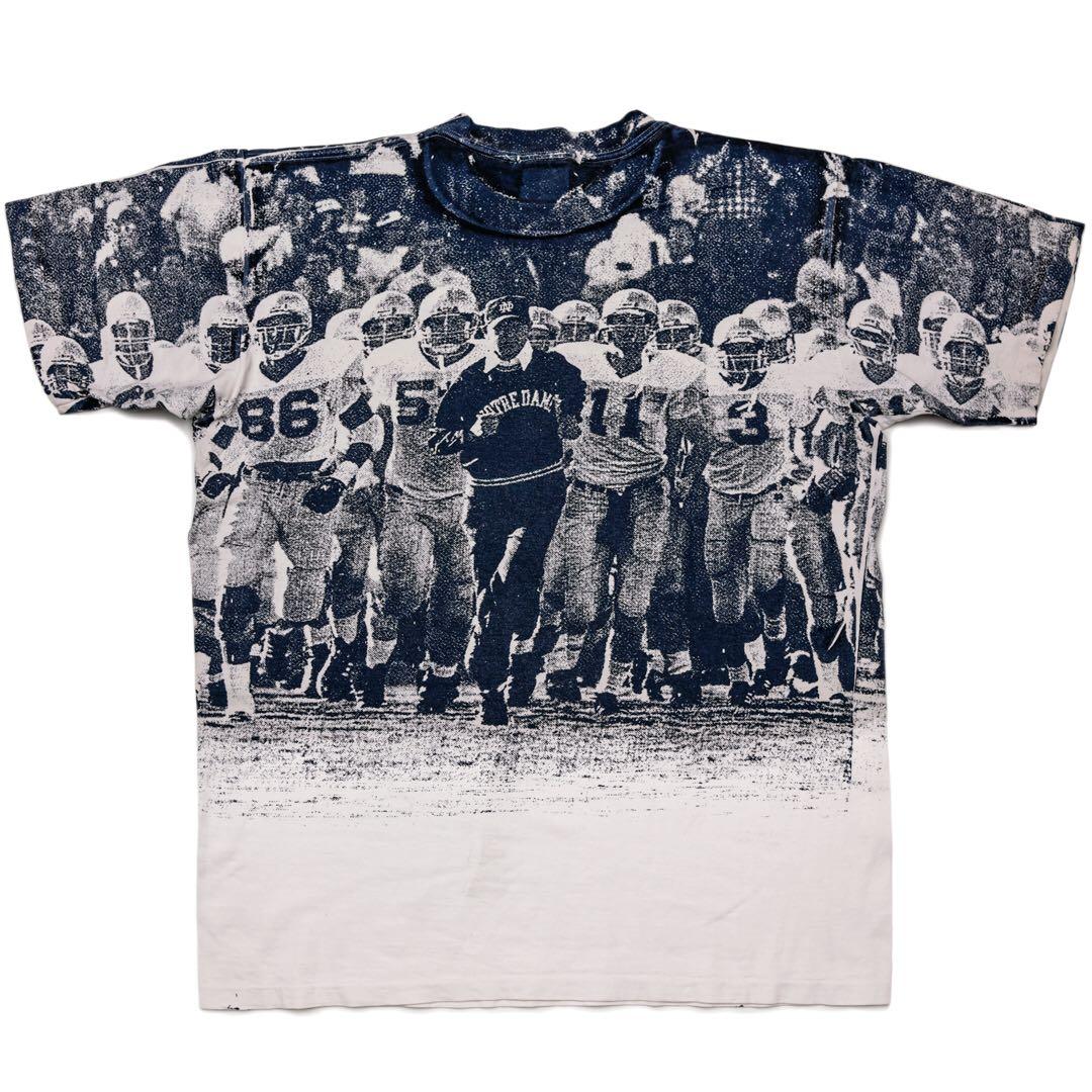 トリコタグ 80s Champion 両面 ピクチャー プリント チャンピオン Tシャツ ノートルダム アメフト 総柄 ビンテージ 古着 大きなサイズ XL_後ろ身頃