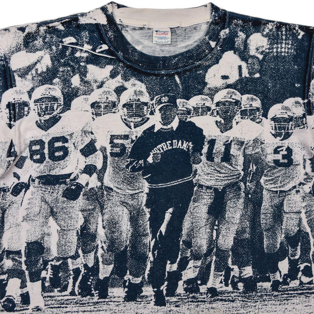 トリコタグ 80s Champion 両面 ピクチャー プリント チャンピオン Tシャツ ノートルダム アメフト 総柄 ビンテージ 古着 大きなサイズ XL_画像1