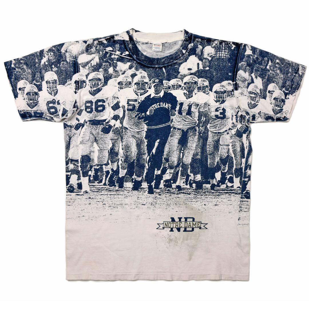 トリコタグ 80s Champion 両面 ピクチャー プリント チャンピオン Tシャツ ノートルダム アメフト 総柄 ビンテージ 古着 大きなサイズ XL_前身頃