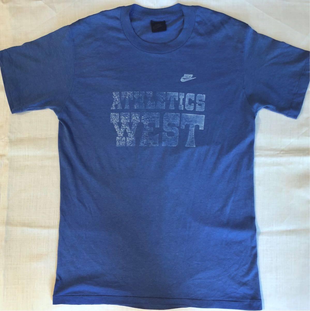 80s NIKE ATHLETICS WEST Print T-shirtナイキ プリント Tシャツ古着 古着女子 Lサイズ USA製