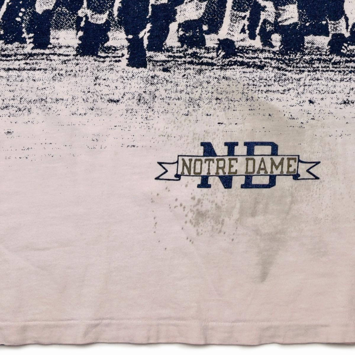 トリコタグ 80s Champion 両面 ピクチャー プリント チャンピオン Tシャツ ノートルダム アメフト 総柄 ビンテージ 古着 大きなサイズ XL_画像4