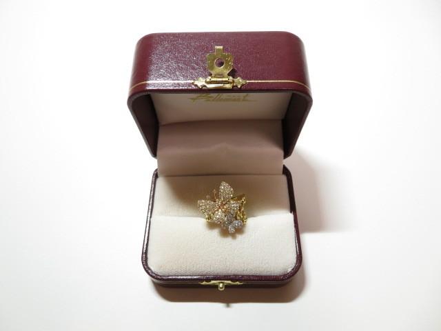 K18YG 750 ダイヤモンド 0.94ct 蝶モチーフ リング