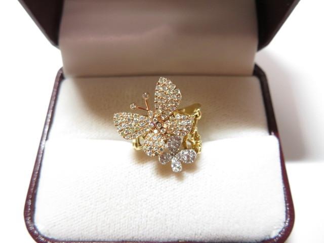 K18YG 750 ダイヤモンド 0.94ct 蝶モチーフ リング_画像2