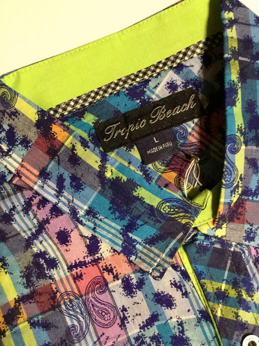 新品未使用!!「Tropic Beach」ペイズリー柄×チェック柄 半袖シャツ Blue×Green SIZE:S Slim-Fit ペルー製