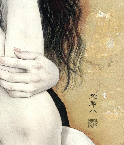妃 耶八 ●日本画「頬杖(ほおづえ)」_画像6