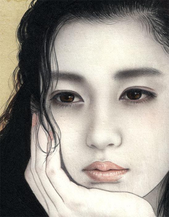 妃 耶八 ●日本画「頬杖(ほおづえ)」_画像4