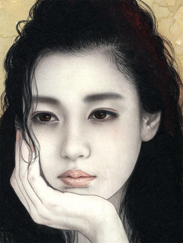 妃 耶八 ●日本画「頬杖(ほおづえ)」_画像2