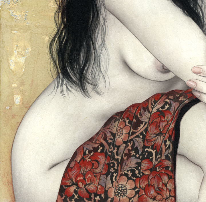 妃 耶八 ●日本画「頬杖(ほおづえ)」_画像5