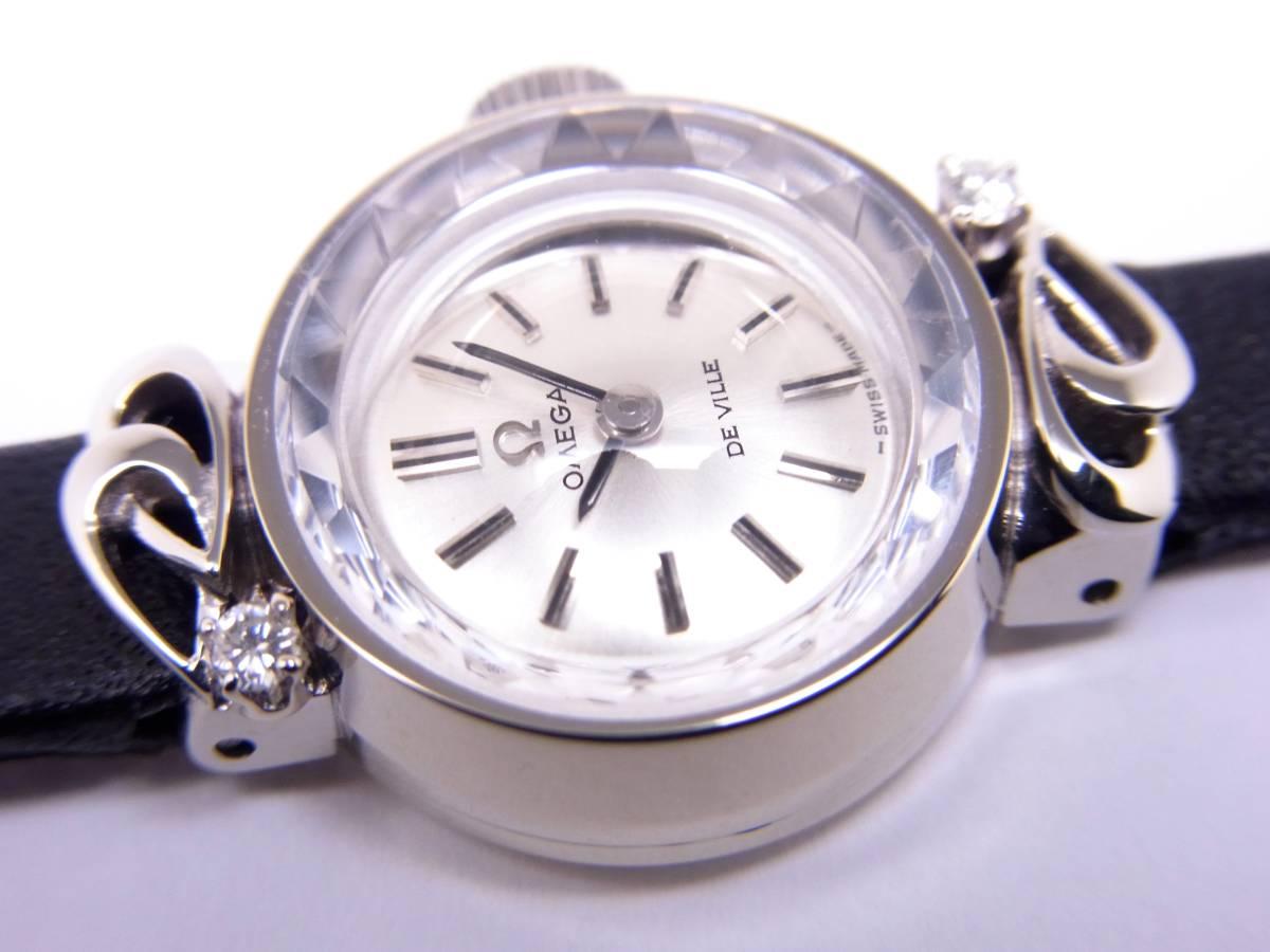 可愛い!!オメガ14KWG 2Pダイヤモンド デビル レディース 手巻き時計 美品!!_画像3