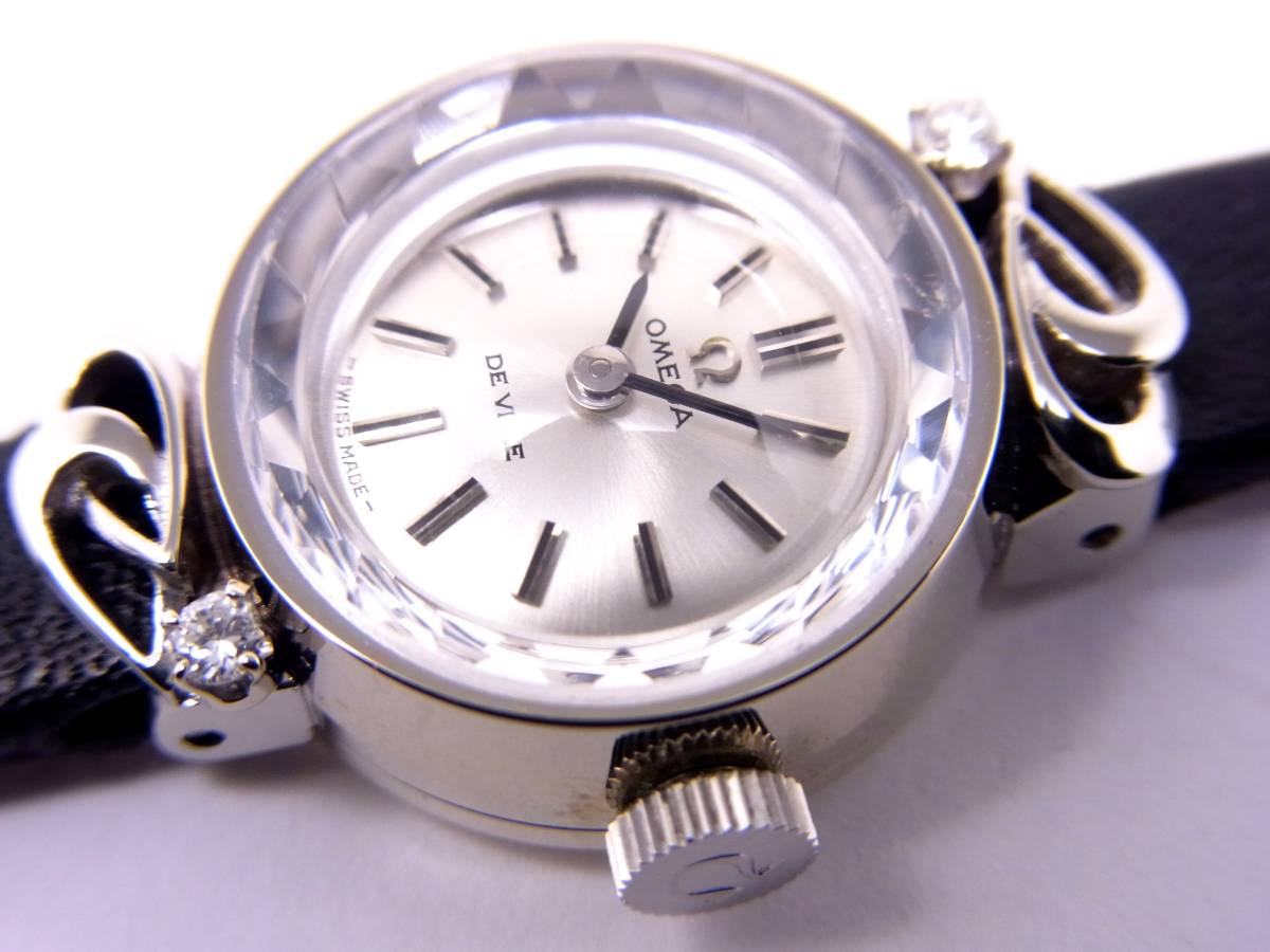 可愛い!!オメガ14KWG 2Pダイヤモンド デビル レディース 手巻き時計 美品!!_画像2