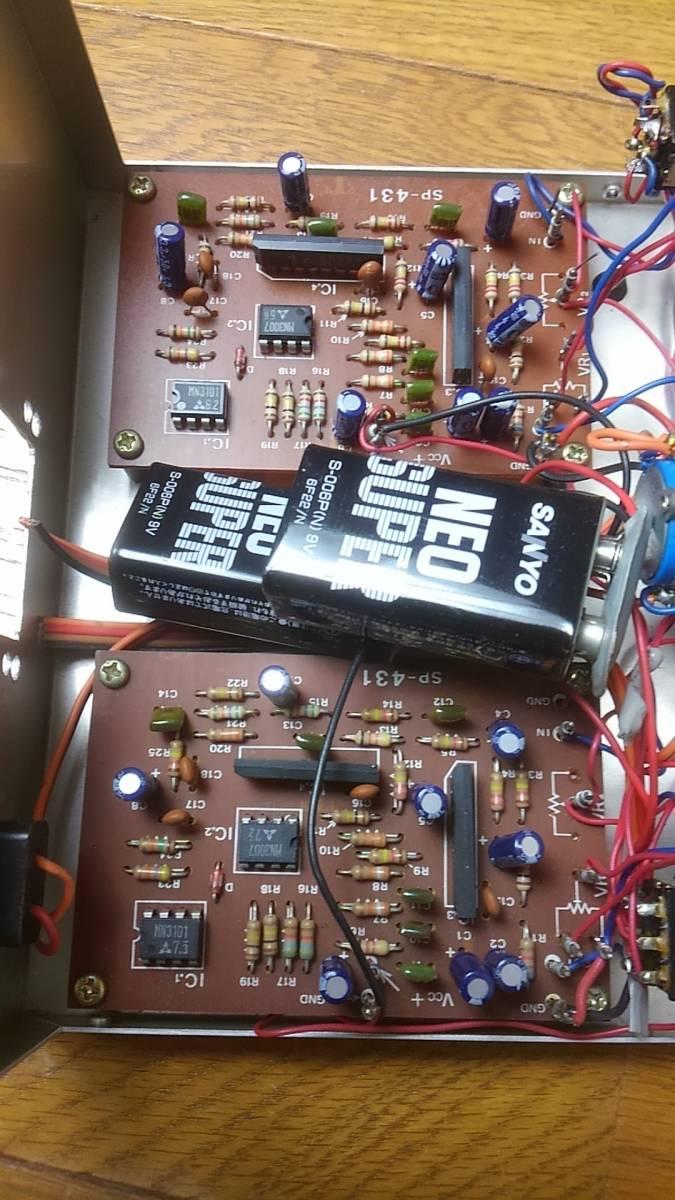 自作工作ボックス ケース美品 SP-431基盤2枚内臓 OP AMP? 3切換えSW ボリューム20KΩ 2個付き ジャンク_画像3