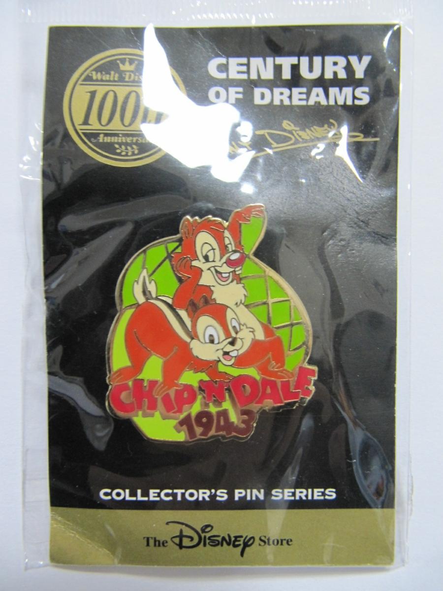 Disney Store チップ&デール ディズニーストア 限定 ピンバッジ ウォルトディズニー 100th チップ デール 1943 どんぐり ピンズ 新品_画像1
