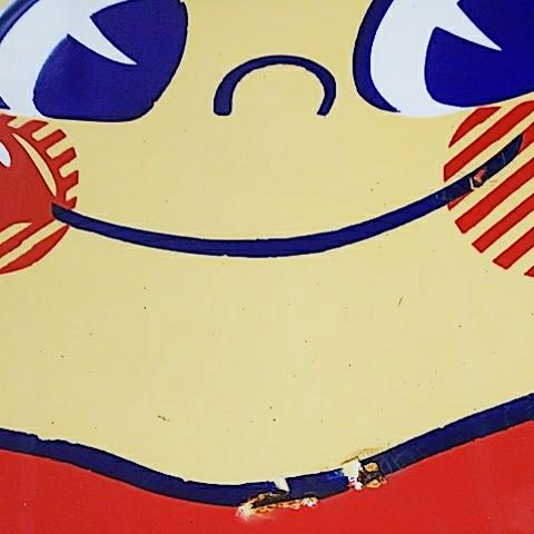 【不二家のミルキー】ペコちゃん ホーロー(琺瑯)看板 両面 昭和レトロ_画像6