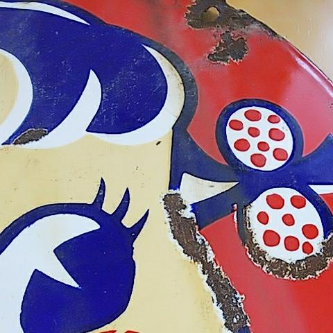 【不二家のミルキー】ペコちゃん ホーロー(琺瑯)看板 両面 昭和レトロ_画像4