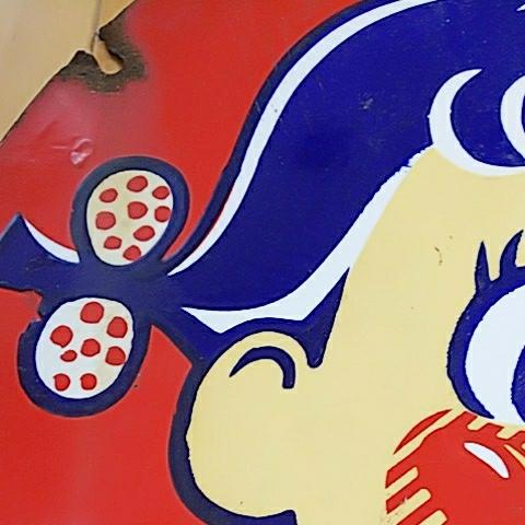 【不二家のミルキー】ペコちゃん ホーロー(琺瑯)看板 両面 昭和レトロ_画像5