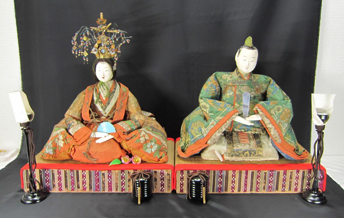 江戸時代の享保雛人形ひな人形お内裏様 小物類4点付き