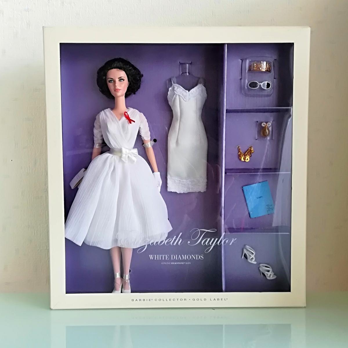 バービー人形 ホワイトダイヤモンド ゴールドラベル エリザベス・テイラー 女優 barbie collector gold label elizabeth taylor _画像1