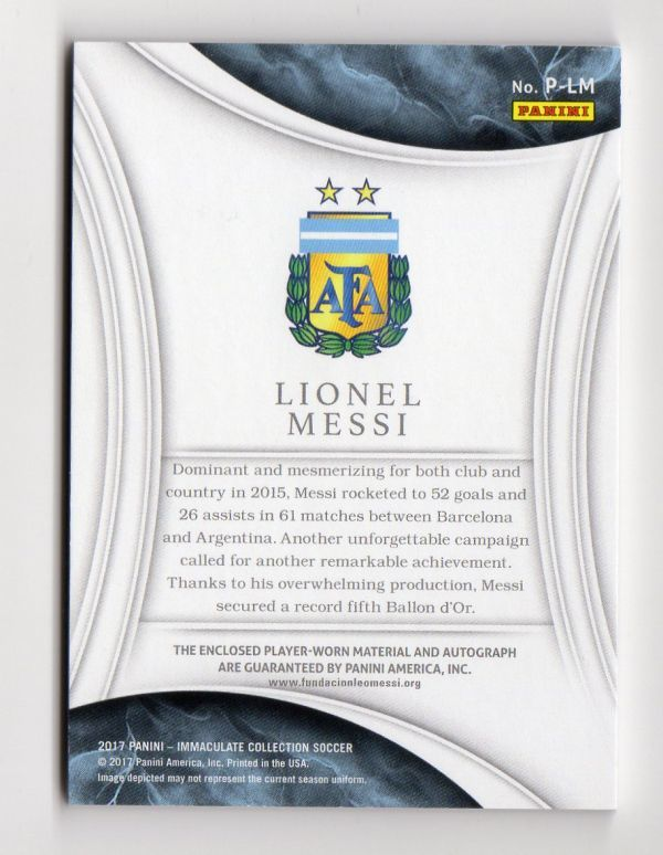 08/10!!【LIONEL MESSI リオネル・メッシ】17 Panini IMMACULATE SOCCER PATCH AUTOGRAPH JERSEY NUMBER アセテート直筆サインカード 2017_画像2