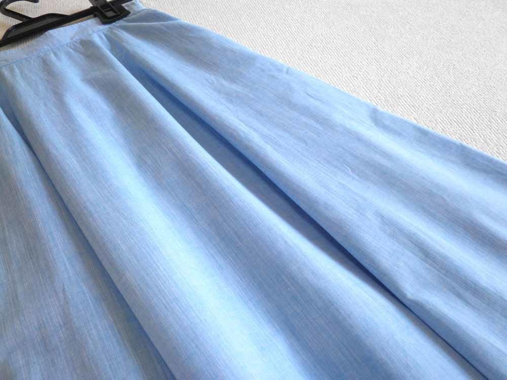 aquagirl アクアガール*昨季 コットンリネン 上質シャンブレーロングスカート 34  5号 麻_画像3