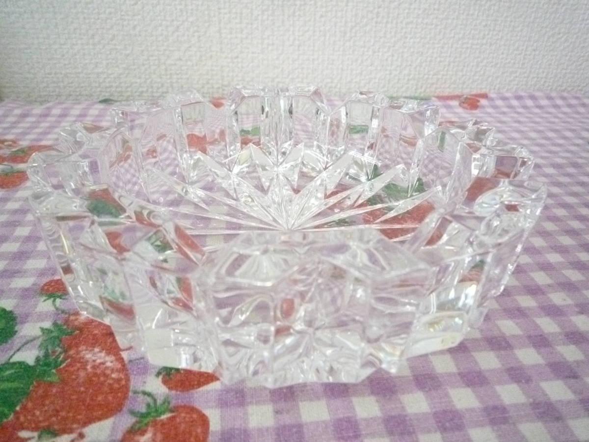 ★ 昭和レトロ ガラス製 応接用 灰皿 大・小 2種セット 未使用保管品_画像2