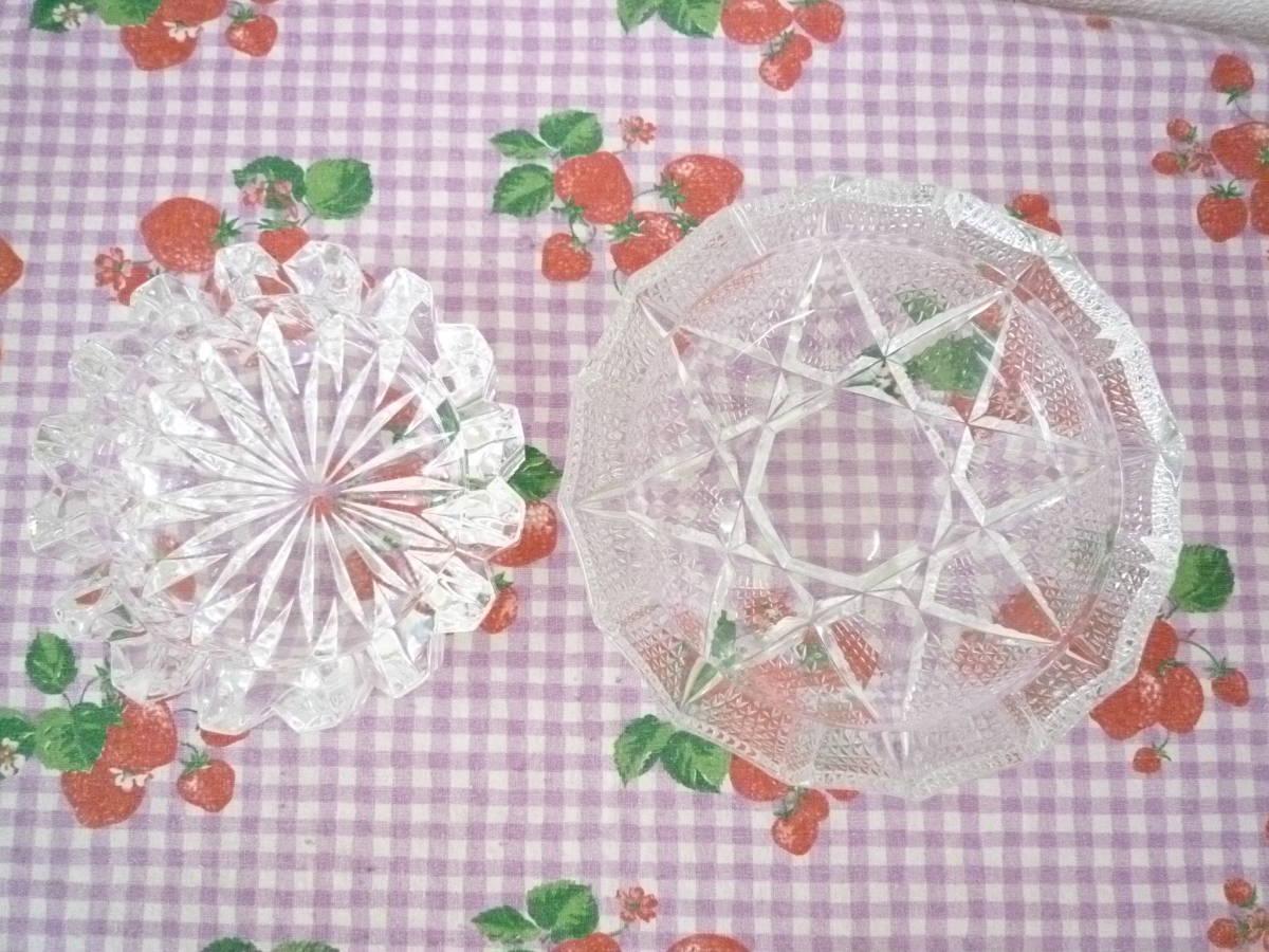 ★ 昭和レトロ ガラス製 応接用 灰皿 大・小 2種セット 未使用保管品_画像5