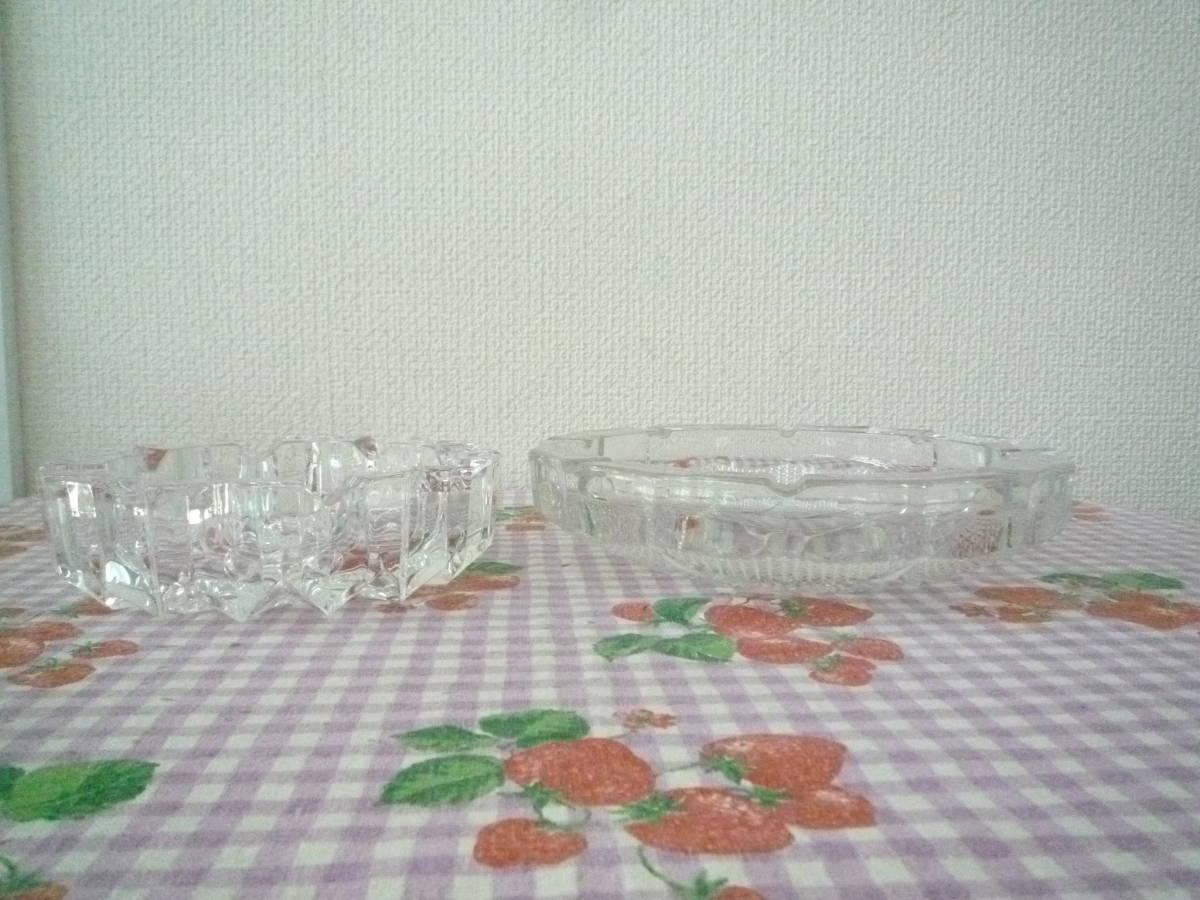 ★ 昭和レトロ ガラス製 応接用 灰皿 大・小 2種セット 未使用保管品_画像6