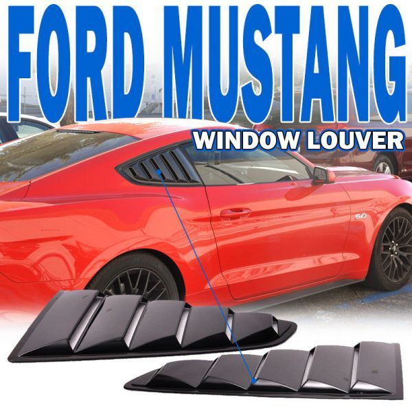 For 15-17 Ford Mustang OE Style Side Black Window Louvers