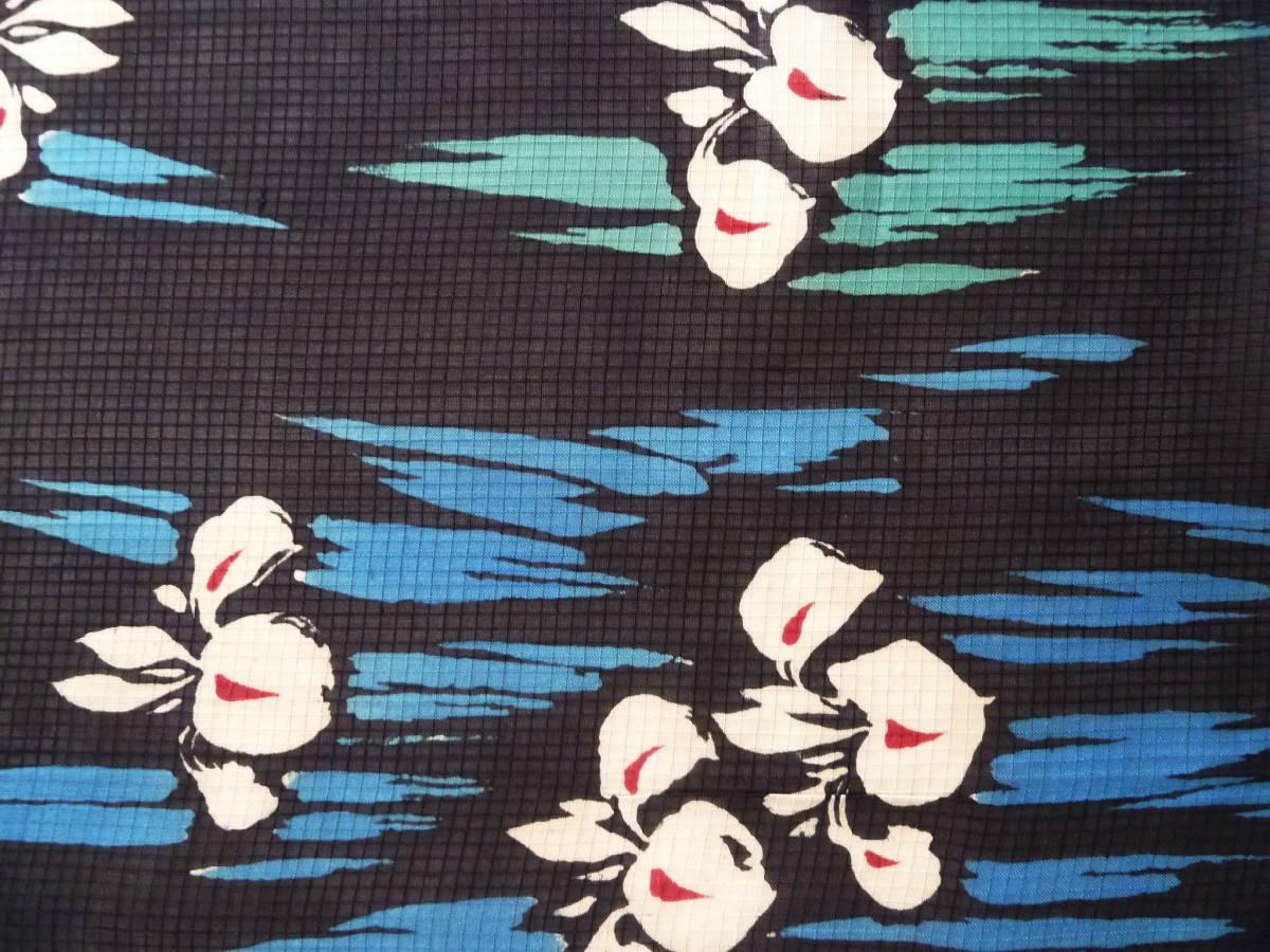 ■彩■古布着物はぎれ/ハギレ 36.5×148 アンティーク 絹紅梅 菖蒲 夏着物 難あり リメイク素材 パッチ