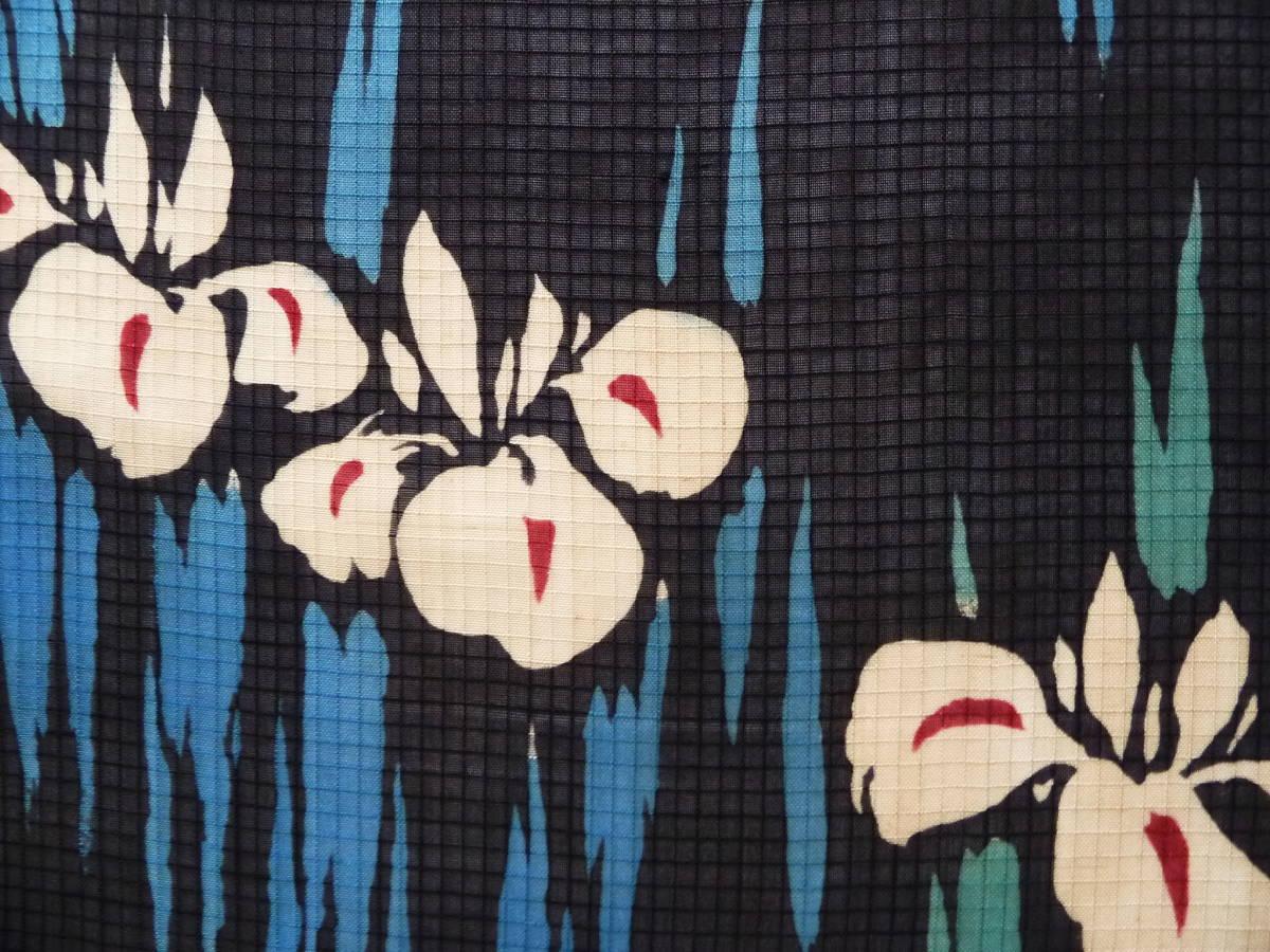 ■彩■古布着物はぎれ/ハギレ 36.5×148 アンティーク 絹紅梅 菖蒲 夏着物 難あり リメイク素材 パッチ_画像2