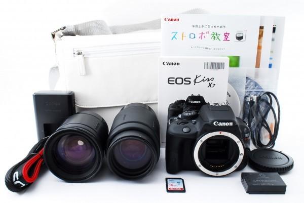 ★美品★ Canon キャノン EOS Kiss X7 ブラック ダブルレンズセット #180561_301115