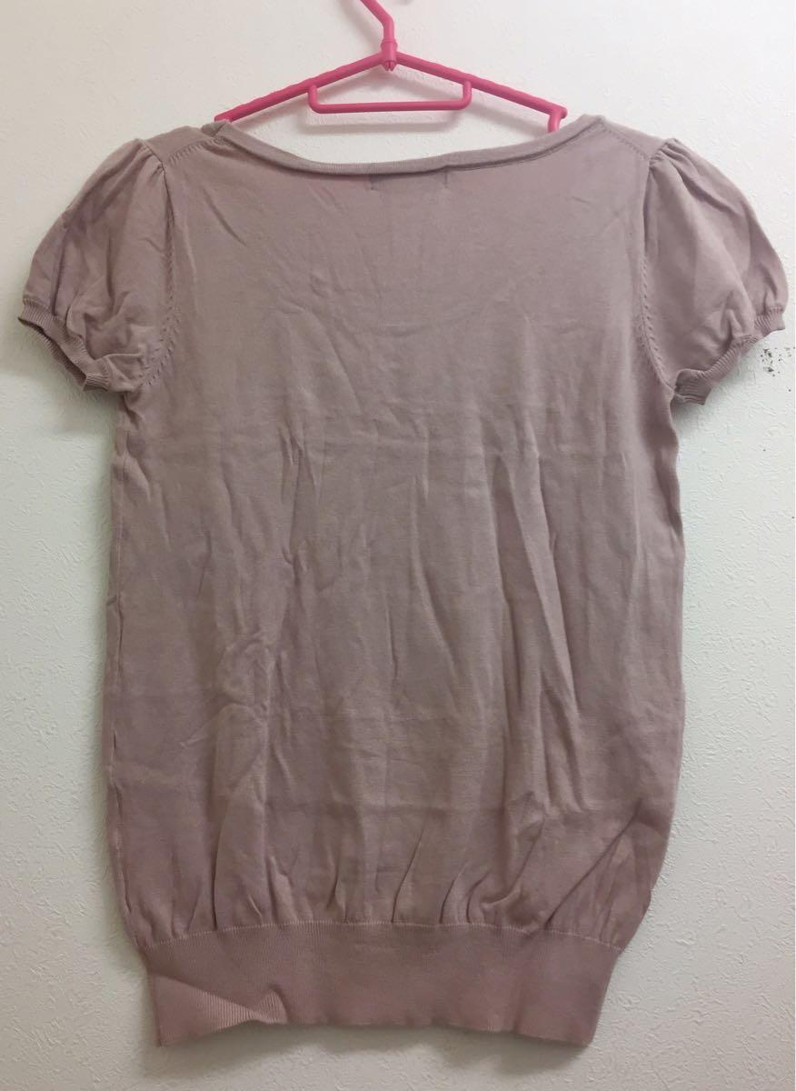 proportion body dressing プロポーション ボディ ドレッシング サイズ2上品な落ち着いたピンク ビジューラメ半袖サマーセーター