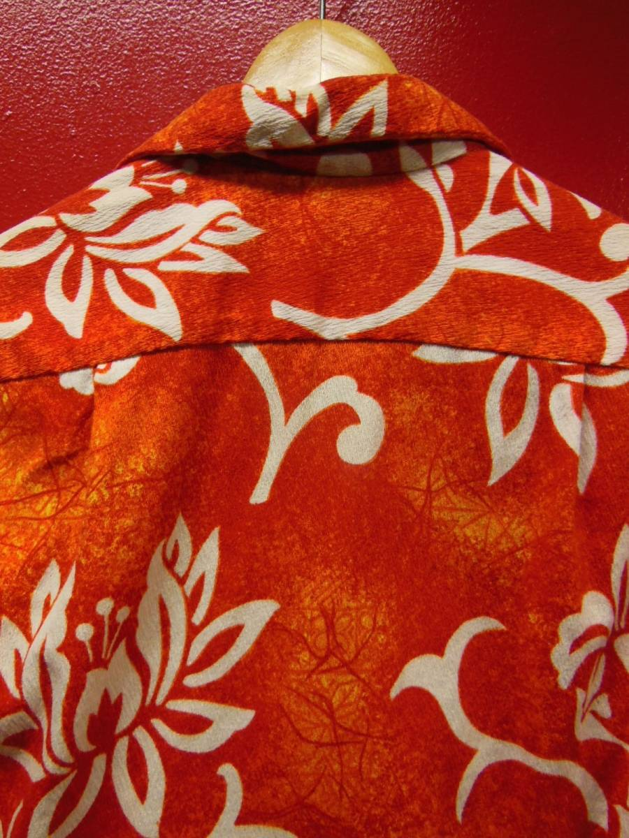 60S70S 米国ハワイ製 ビンテージ ROYAL HAWAIIANバーククロス コットン ハワイアン アロハシャツ/Sサイズ US古着_画像4