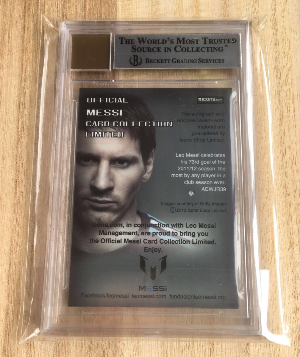 2013 Icons Official Messi Card Collection MESSI AUTO LOGO PATCH 1/1 メッシ 実使用バルセロナジャージロゴ サイン_画像3